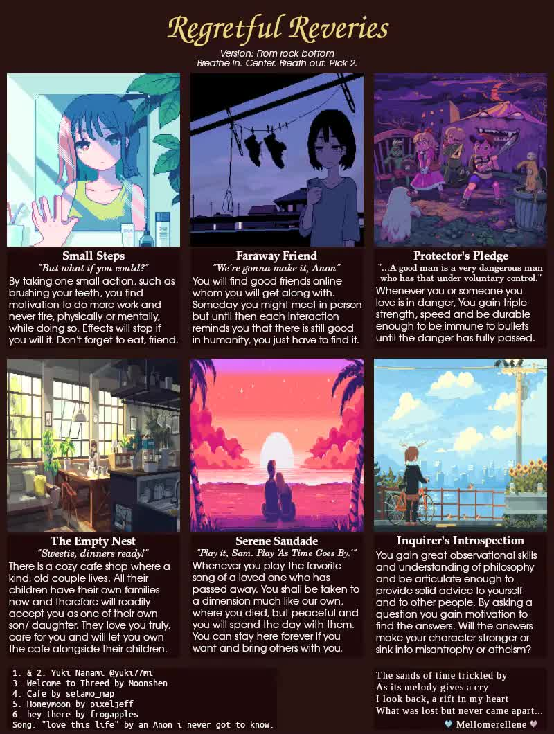 """Regretful Reveries CYOA by Mellomerellene, Song_love this life. The song used is """"love this life"""" by an Anon, i did not get the chance to know the Ano"""