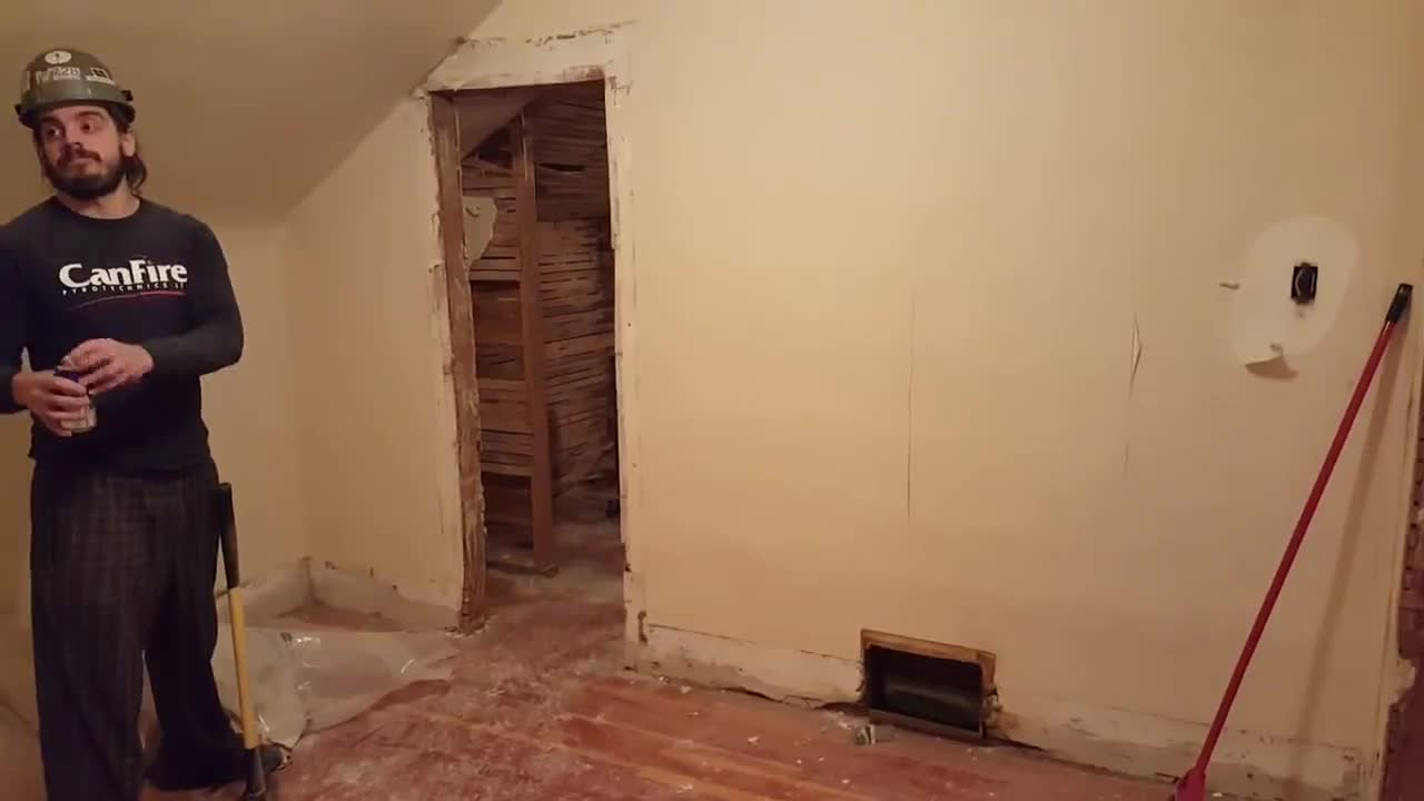 No drinkin' on the job!. .. That moment when the homeowner just wanted a new door and some renovation for the walls