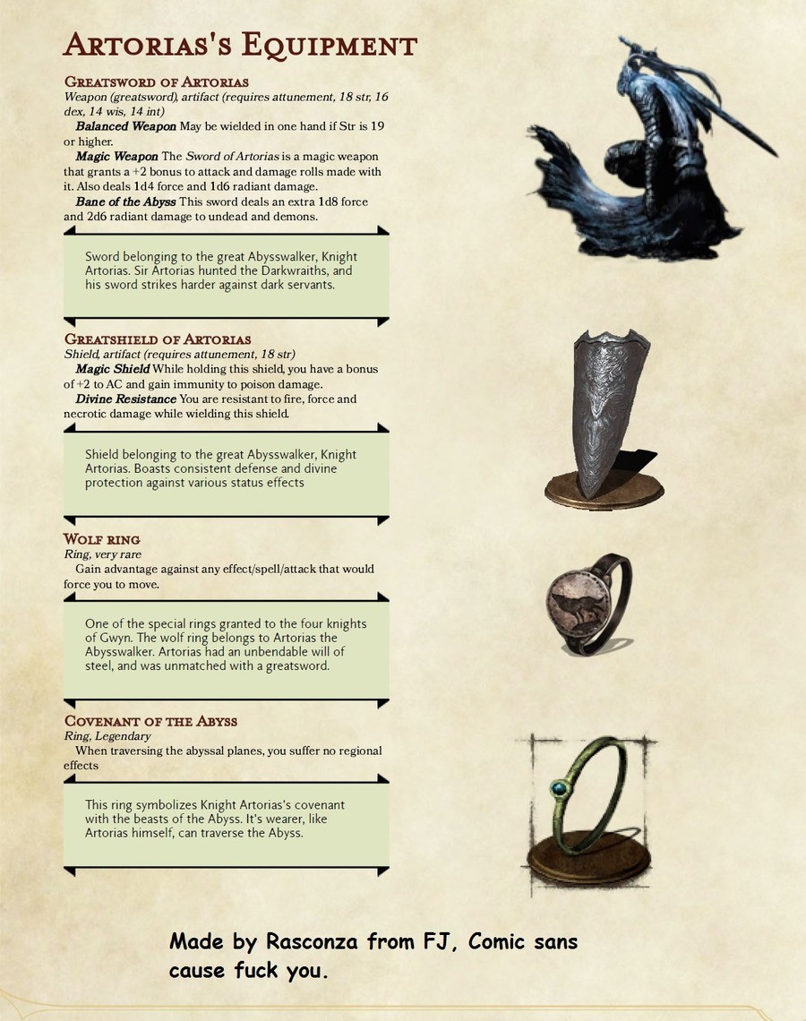 I made for Dark souls type 5e d&d. join list: StuffImakeforDandD (116 subs)Mention History. s EQUIPMENT D or Aromas Weapon (greatsword) artifact (requires attun