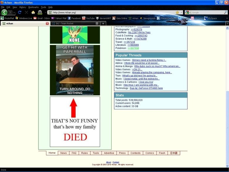 4chan lol. 4chan's main page is always changing. But it's hilarious when it changes to something that means something..