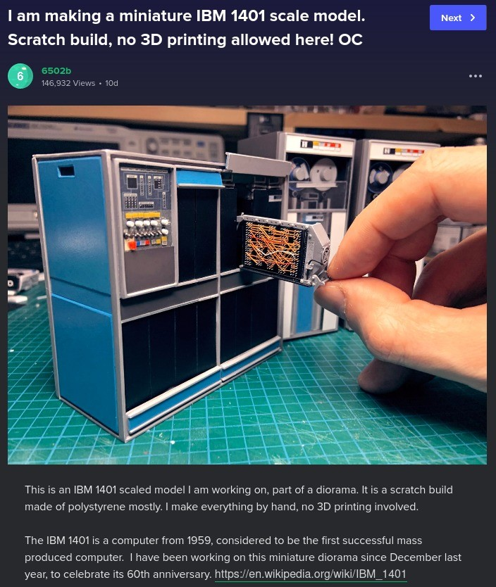 A diorama to cum to.. SRC: imgur.com/gallery/VAiP1G0.. The 1401 was called the first portable computer because a full working setup could fit inside a truck.