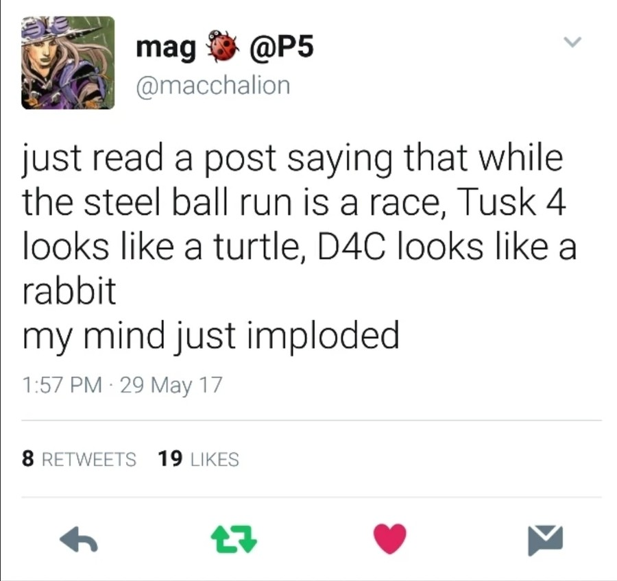 A giant ass metaphor. join list: JojoGeneral (625 subs)Mention History join list:. Ah yes, the old turtle vs rabbit vs dinosaur tale.