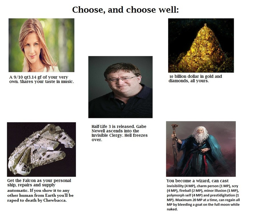 A Very Old CYOA. .. This is my one chance to fulfill my lifelong dream of Chewbacca and I'm sure as hell not about to blow it.