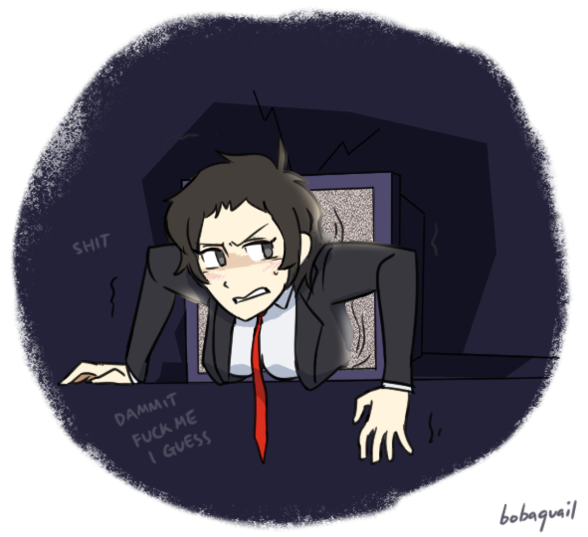Adachi. .. Psycho woman throwing people into TVs because they won't date her is still psycho .