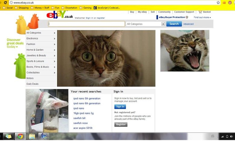 Adblock. Adblock's April fools has made all of the adverts turn to cats! Enjoy!. Buy Sell Community I eBay Buyer Welcome] Sign in or register l All were E Advan