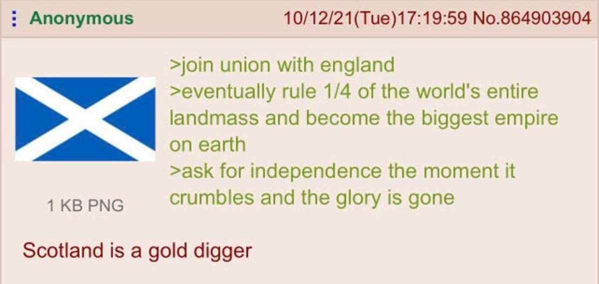 """Anon is Scottish. .. Forgot the whole """"get raped, robbed, and have all of your weapons taken by the British"""" thing."""