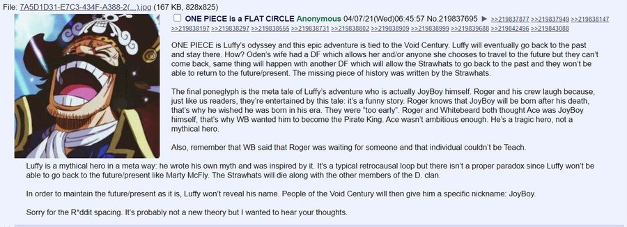 Anon's theory on One Piece. .. Imagine apologizing for using spacing.