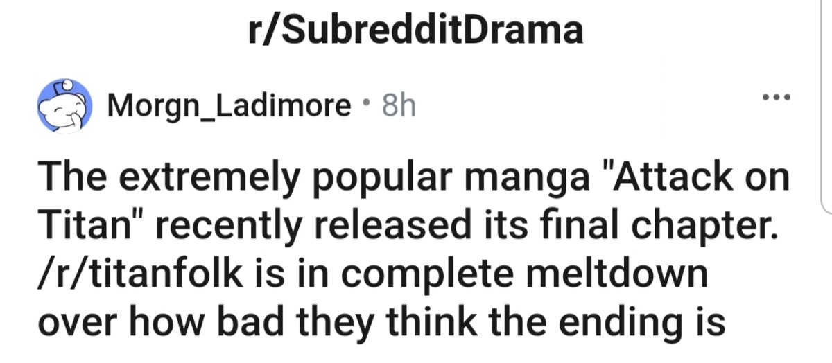 AoT ending sucks so much that people having mental breakdown.. .. this happens everytime a big manga ends. every goddamn time
