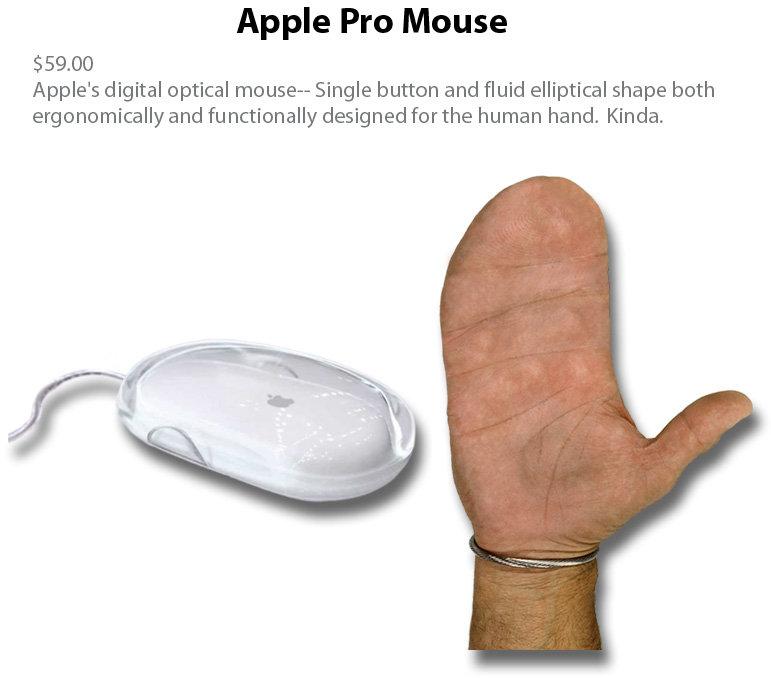 Apple Pro Mouse. The Apple Pro Mouse, it's designed for a human hand.. Apple Pro Mouse Apple' s digital optical mouser- Single button and fluid elliptical shape