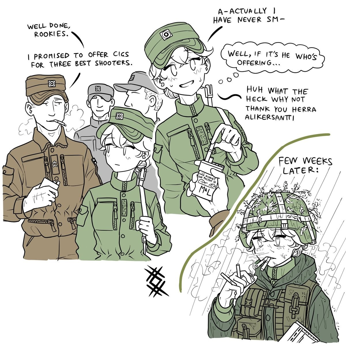 Army chan picks up smoking. .. it is the nature of the Grunt to smoke.