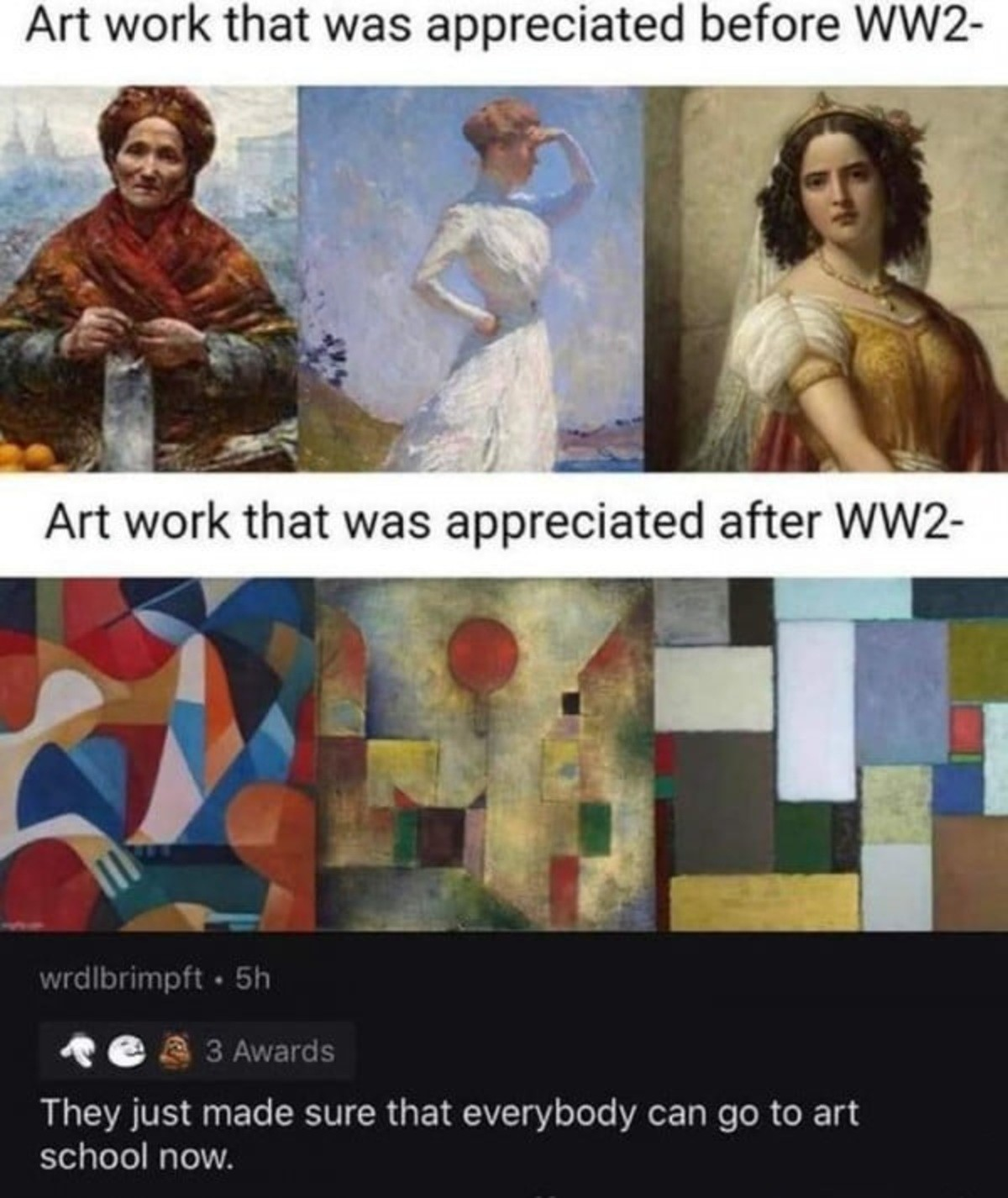 Art before and after WW2. .. No it actually happened directly before, and was an understated major cause to WW2. Picassos trend was a contributing factor to Hitler's rejection to art school