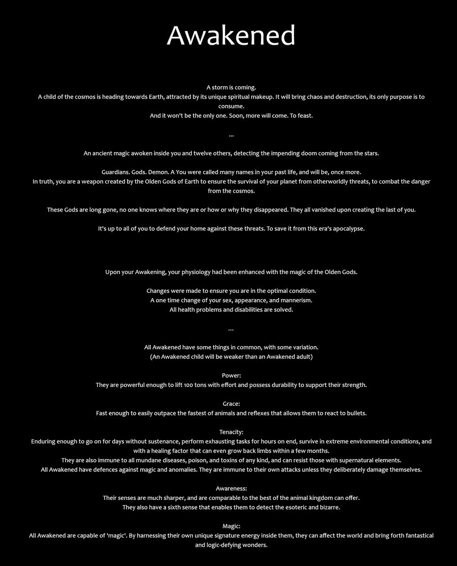 Awakened CYOA. .. Rather extensive for a CYOA that is just a single choice. In any case, I choose The Devil. Control emotions and know everyone's desires and secrets, be complete