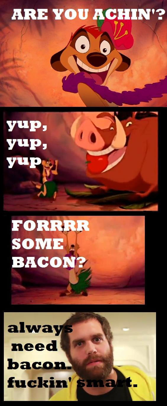 Bacon.. Watched Lion King the other day for memories sake, when I heard this part I could help but hear the EPICMEALTIME boys in the back of my head. Bacon. Bac