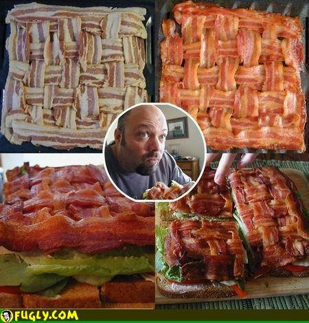 Bacon Sandwich. Don't ruin your sandwich with bread. Make bacon bread instead... that's what a call a heart attack on a bun