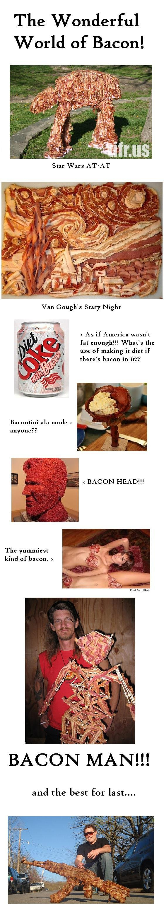Bacon, Bacon, Bacon. I love bacon and I figured my fellow funny junkers would appreciate these pictures as much as I do OC. l, l Wonderful World of Bacon! r: As