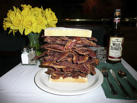 bacon sandwich. a healthy breakfast should always consist of wild turkey bourbon and some bacon.. bacon and wild turkey best combo ever