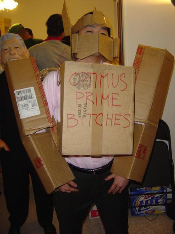 Bad cosplay + Red sharpie = awesome.. .. boximus prime