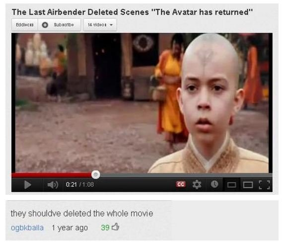 """Bad Live Action Avatar Was Bad. . The Last Airbender Deleted Scenes """"The Avatar has returned"""" sh: - the mole ritmo,' l 353: 3"""