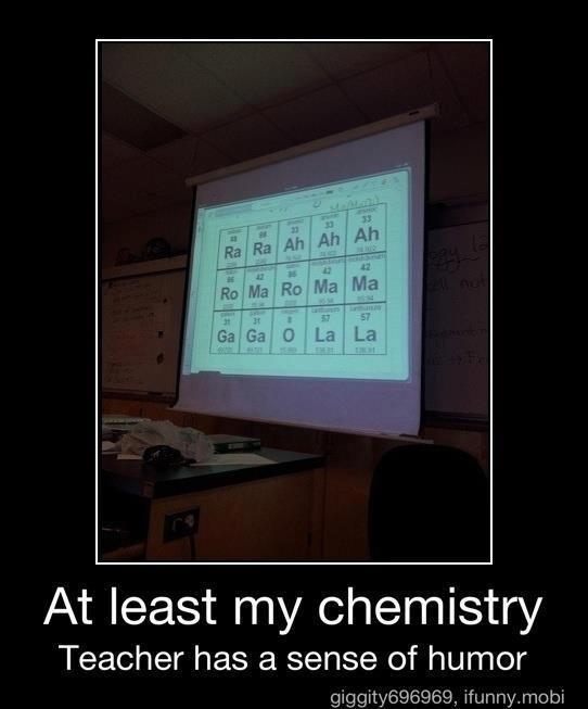 Bad romance. . G La LEVI Pd least rrly chemistry Teacher has a sense of humor ifunny, mobi. why do people keep reposting....