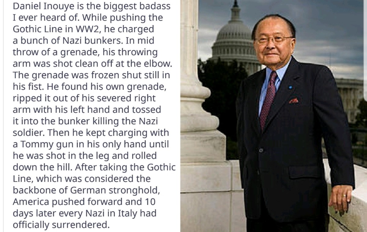 """Badass Hero. .. Daniel Inouye was fascinating to listen to in Ken Burns' """"The War"""". Great documentary. I highly recommend it. It excludes a fair amount of info, and i"""