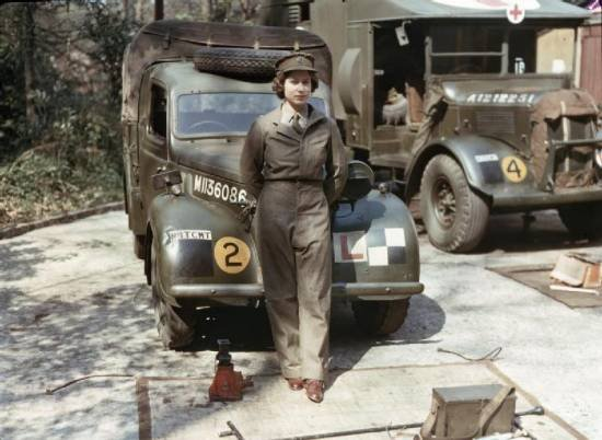 Badass queen Elizabeth. Eighteen year old Princess Elizabeth of England pictured during her time in the Auxiliary Territorial Service during WWII where she drov