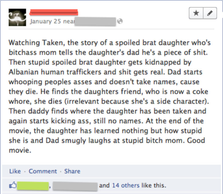 Badass review. . January 25 nea_ k' Watching Taken, the story of a spoiled brat daughter who' s bitchass mom tells the daughter' s dad he' s a piece of shit. Th