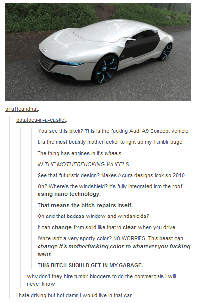 Badass. . potato sleet: You see this bitch? This is the m cking Audi Concept vehicle. l is the mo st bea stly motherfucker to light up my Tu mblr page. Thething