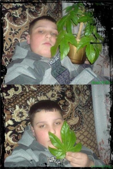 Badass kid. Check out that house plant.... Badass.. one word. GAY