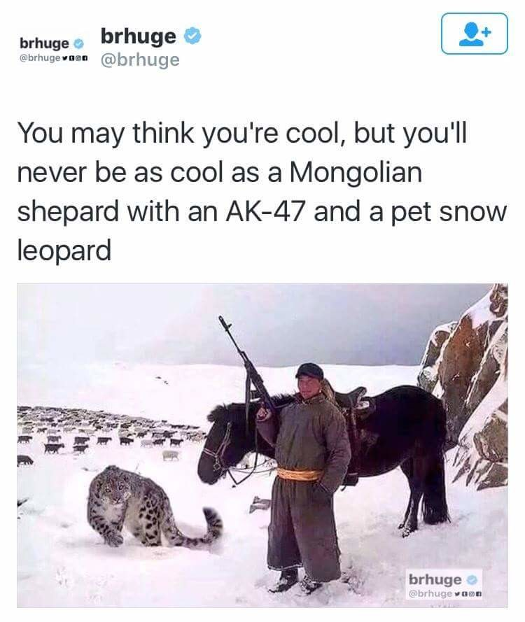 Badass. . You may think you' re cool, but you' ll never be as cool as a Mongolian shepard with an and a pet snow leopard. But then again, I'll never be Mongolian.