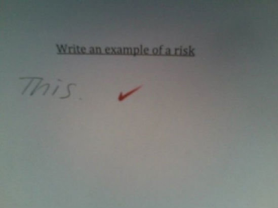 Balls. .. The teacher checked it because she doesn't wanna read anymore .