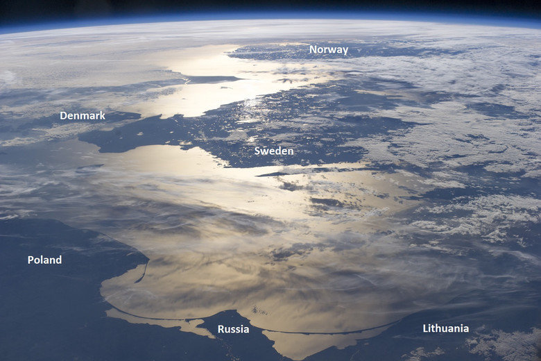 Baltic sea from space. .