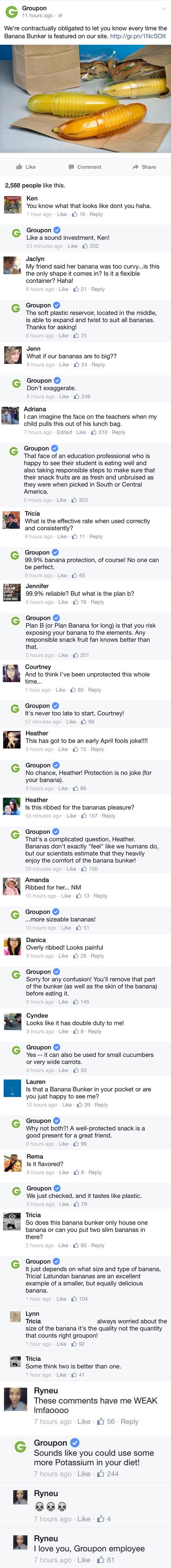 bananna. . Groupon 11 hours ago _ ' We' re contractually obligated to let you know every time the Banana Bunker is featured on our site. http:// gran/ if we I C