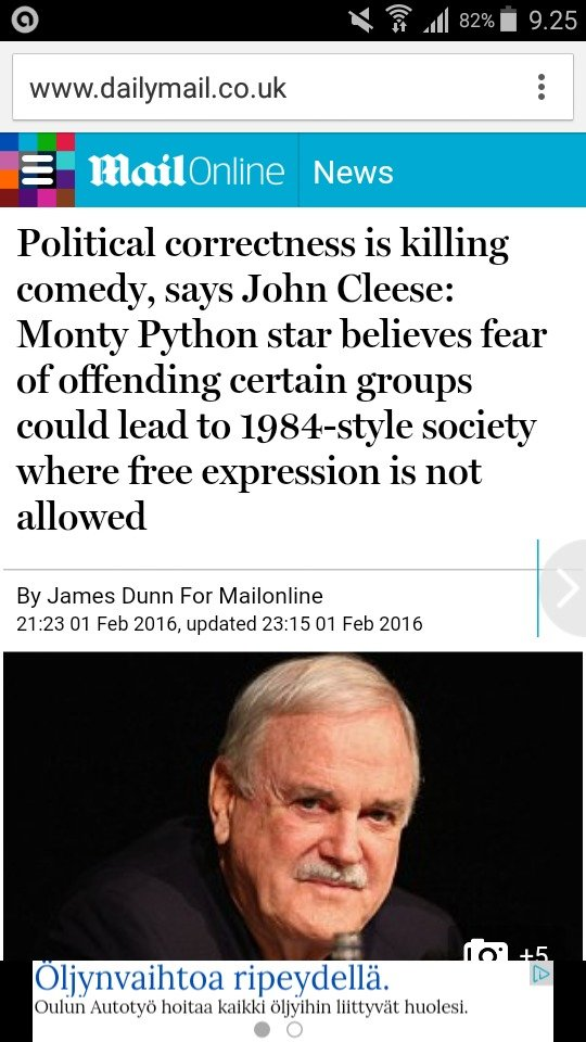 Based Cleese. d.html. Political correctness is killing comedy, says John Cleese: Monty Python star believes fear of offending certain groups could lead to / soc