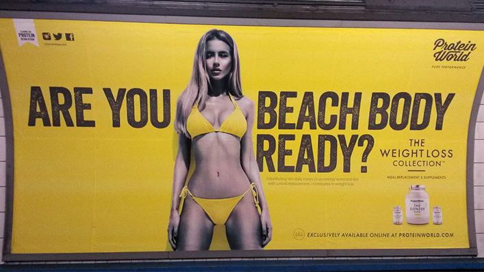 Based Protein World. Protein World came up with this campaign. Feminists retort. Their reply.. l THE I WEIGHT