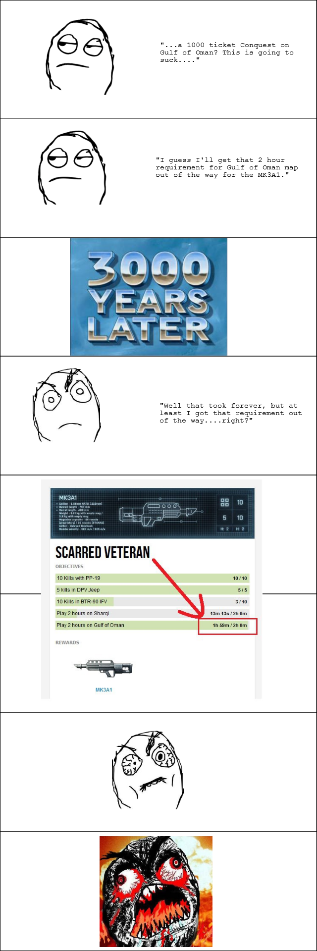 Battlefield 3 Hates Me. Every....single....time. a 1000 ticket Conquest en Gulf of Oman? This is geing T guess I' ll get that 2 heur requirement fer Gulf of (Dm