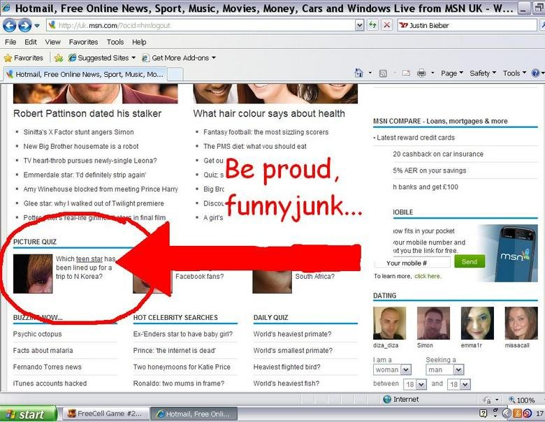 Be Proud, FJ : ). well, look what we did...bye bye Beiber!. I fl IE File Edit View Favorites Tools Help siir Favorites l a ' Suggested Sites I liik' Get Mere Ad