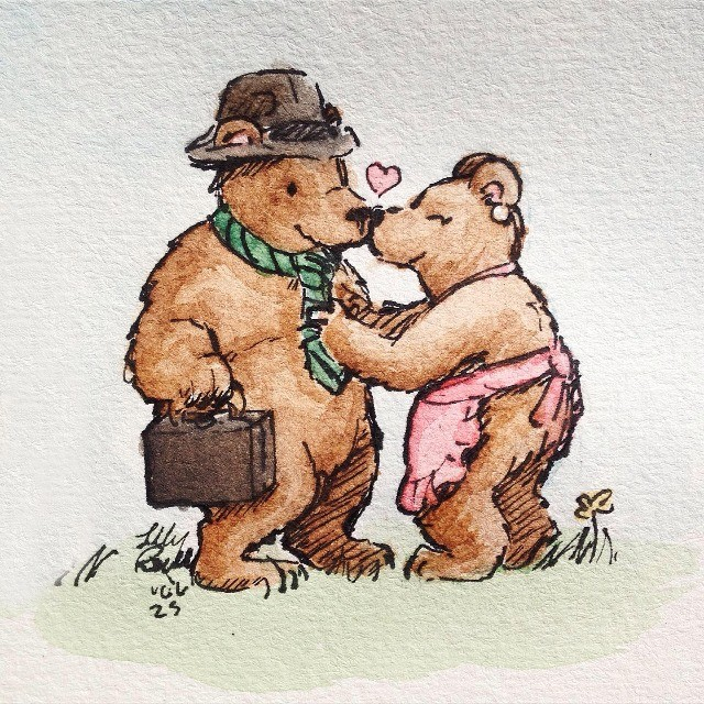 Bear domestically, off to work. Which do you like better watercolor? join list: WatercolorAndOrInk (43 subs)Mention History Or ink? join list:. Love the watercolor-one. Perfectly for childrens books or cartoons, you should further pursue this talent of yours.