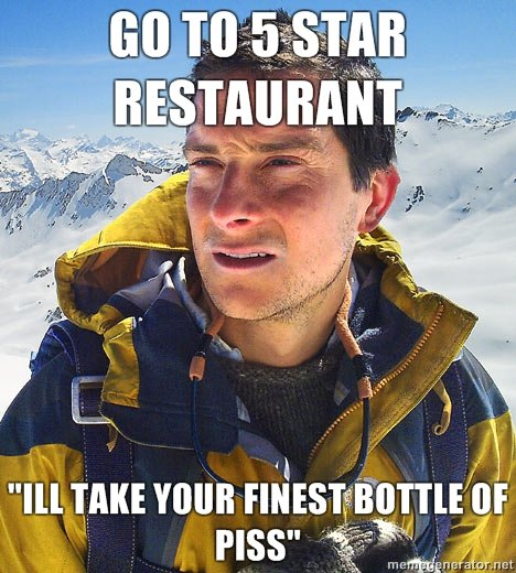bear grylls oc. i made it .. Waiter: I'm sorry sir, but Mr. Norris didn't come in today.