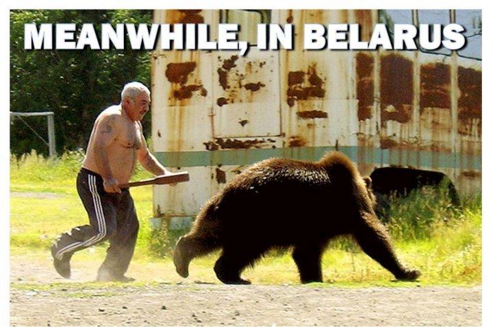 Bearhunting. It looks like.....<br /> the bear is back.. In soviet Russia, man mauls bear!