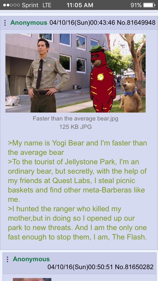 """Beary Allen. . Sprint LTE """" """" 5 A In i Anonymous 0411 / 1 6( Sun) 00: 43: 46 Faster than the average bear. jpg 125 KB JPG name is Yogi Bear and I' m faster than"""