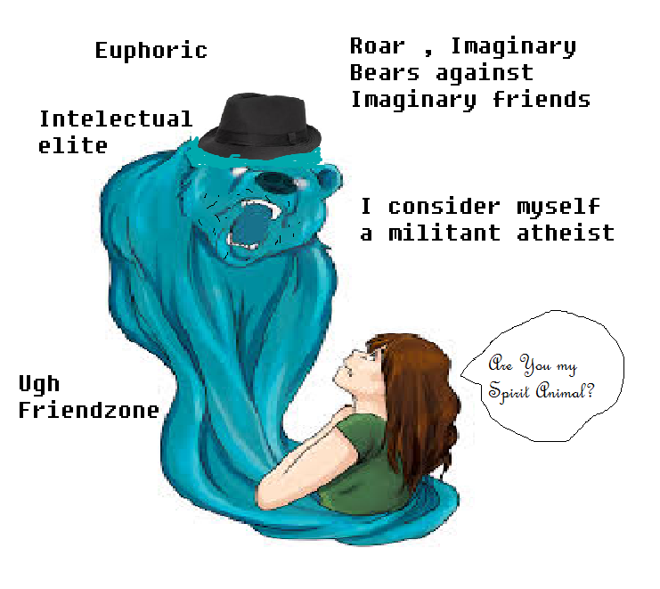 Beary the Huggable Spirit Bear. A friend claimed her spirit animal would have a fedora , this masterpiece was created using the highest quality art kit for babo