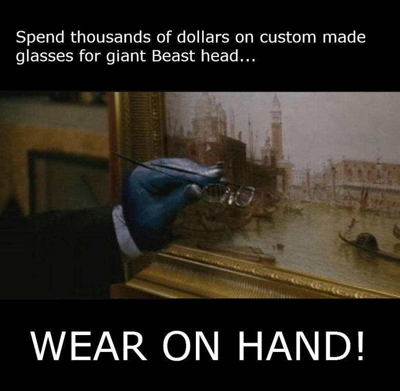Beast Fail. . Spend thousands of dollars on custom made glasses for giant Beast head...