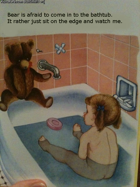 bedobear. a page from an old finnish childrensbook. found from kuvaton.com and translated to english. Bear is afraid an come in an the bathtub. It rather just s