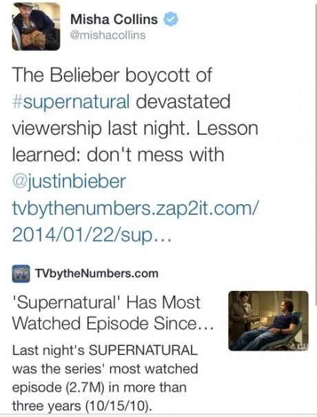 beliebers are so powerfull. . Misha Collins G The Belieber boycott of devastated viewership last night. Lesson learned: don' t mess with ijbs) Supernatural' Has