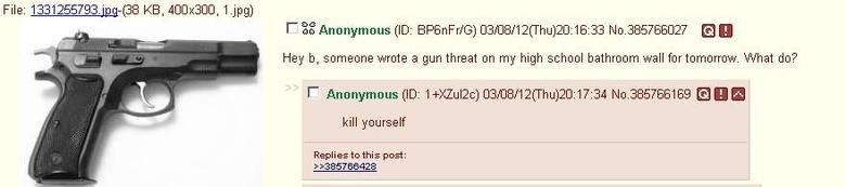 Best advice ever.. Found this a few minutes ago.. 33 Anonymous (ID: / G) CENCE/ 12( Thu) . 16: 33 No. 385766027 En Hey b, ahahaaha wrote a gun threat an my high