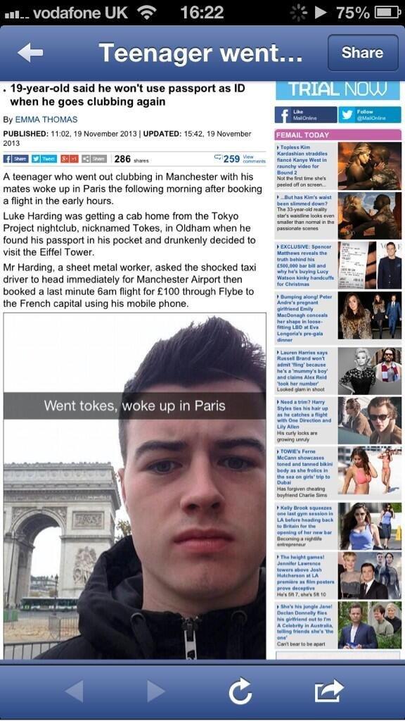 best way to travel. . mu Vodafone UK 'e' aith 16: 22 be ffi?/ o (rail', in 4- Teenager went... Share said he wen' t use passport as ID NAJJ. when he gees clubbi