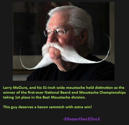 Best. Mustache. Ever.. Epic mustache is epic. Larry McClure, and his wide ragestache held distinction as the winner Faythe firstloser National Beard and Moustac
