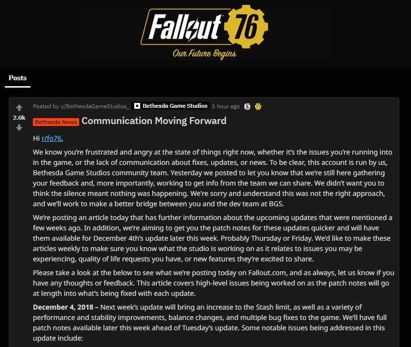 Bethesda's future updates for Fallout (straight from reddit). movingforward/ join list: VideoGameHumor (1696 subs)Mention History SUB TO THE NEW LIST FOR NEWS U