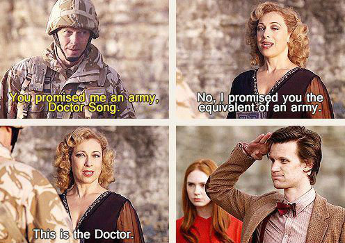 Better than an Army. . lehrer 'Ingrid f.. NO NO NO the doctor hates salutes he would never do this SMITH get it right.