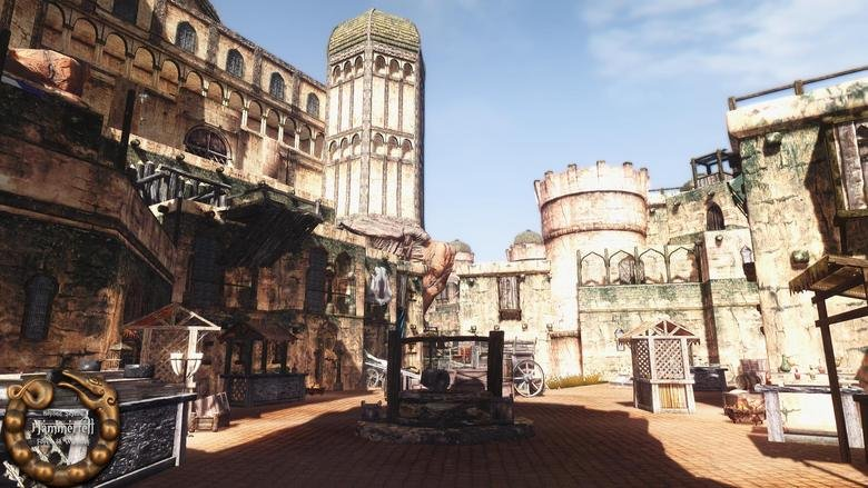 Beyond Skyrim: Hammerfell Week. Markets in the capital city of Sentinel Located in the now independent nation of Hammerfell An entrance to a bandit infested Dwe